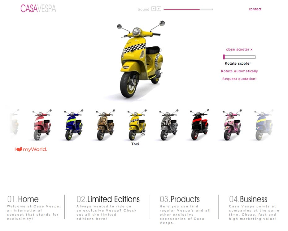 Picture showing the web site of CASA VESPA as part of the branding package, created by STORMYSUNDAY