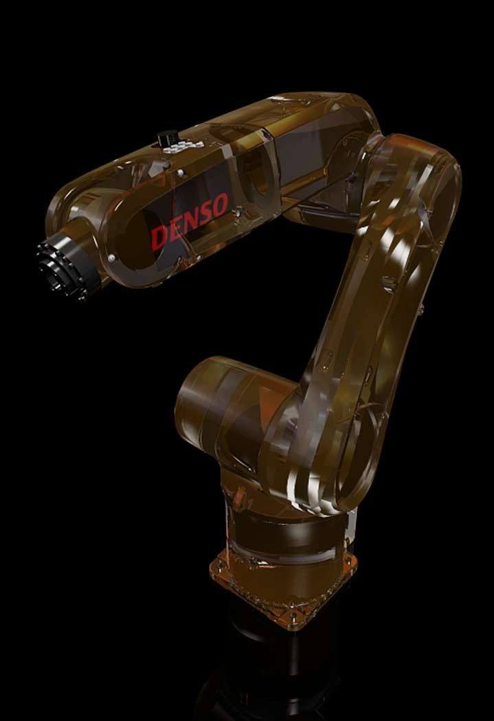 Picture showing a visual of a tranparent robot arm for DENSO Wave Robotics as part of the branding package, created by STORMYSUNDAY, personally!