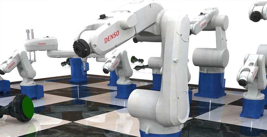 Picture showing a visual of a chess board with robot arms winning a game for DENSO Wave Robotics as part of the branding package, created by STORMYSUNDAY