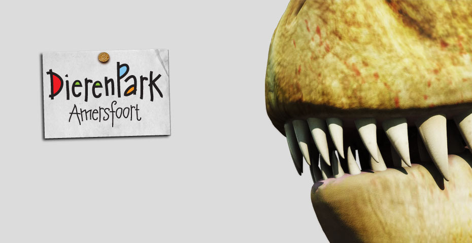 Picture showing a visual of a T-Rex for Dierenpark Amersfoort as part of the branding package, created by STORMYSUNDAY