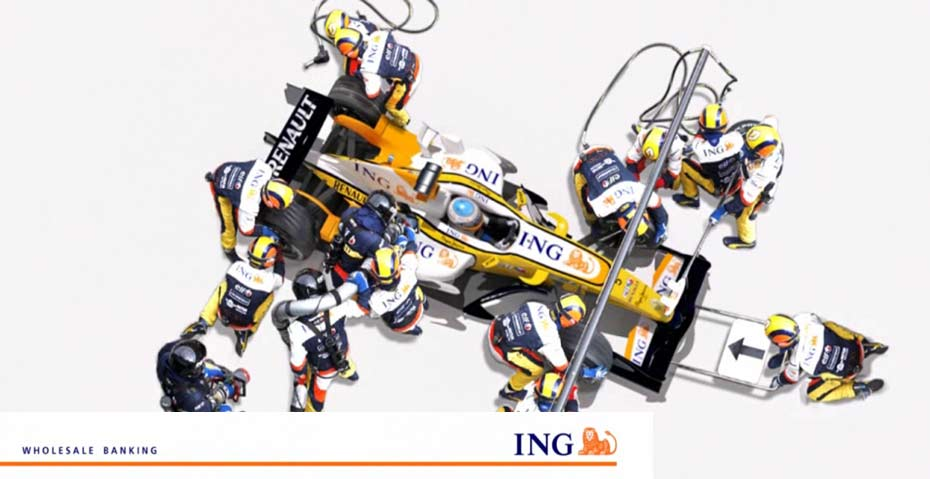 Picture showing a Formula 1 race car for ING Wholesale Banking, created by STORMYSUNDAY