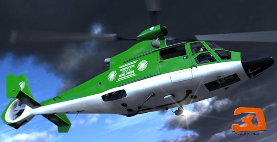 Picture showing a rendering of a 3D rescue helicopter, created by STORMYSUNDAY
