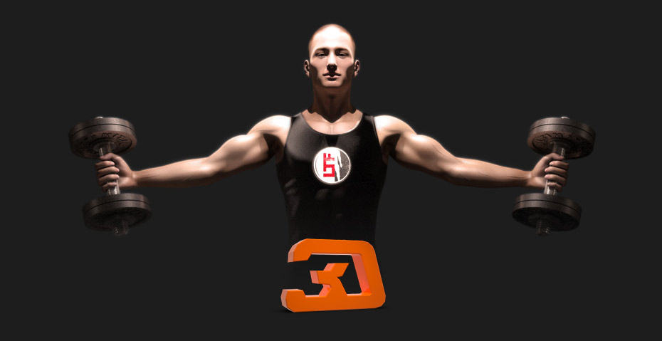 Picture showing a 3D rendering of a man lifting weights. Picture serving as the logo for the Link To Fit web site, created by STORMYSUNDAY