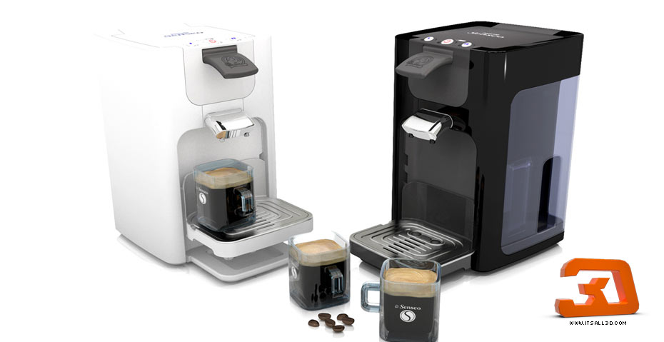 Picture showing a 3D rendering of a SENSEO 2 coffee machine, produced for PHILIPS, created by STORMYSUNDAY