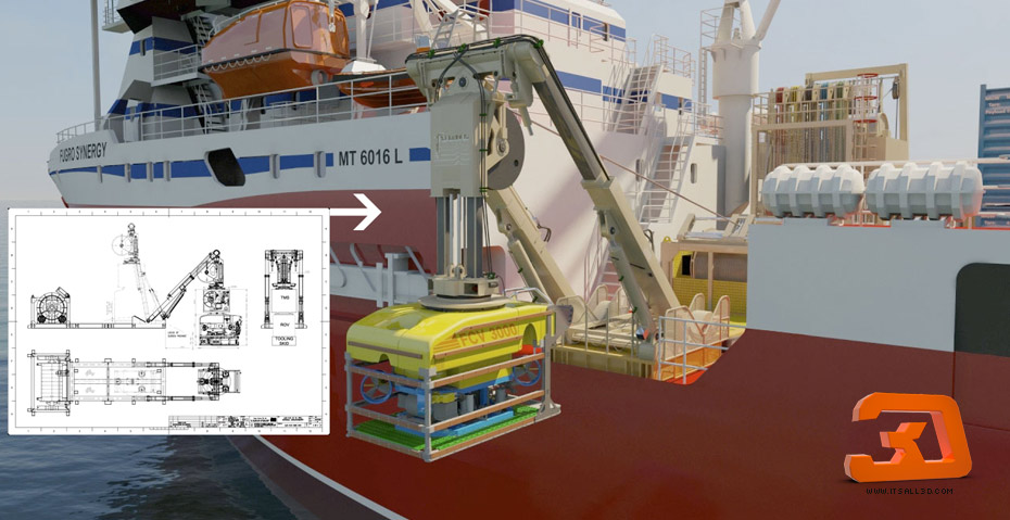 Picture showing a 3D rendering a sea vessel fitted for deep sea drilling, for FUGRO Synergy, created by STORMYSUNDAY