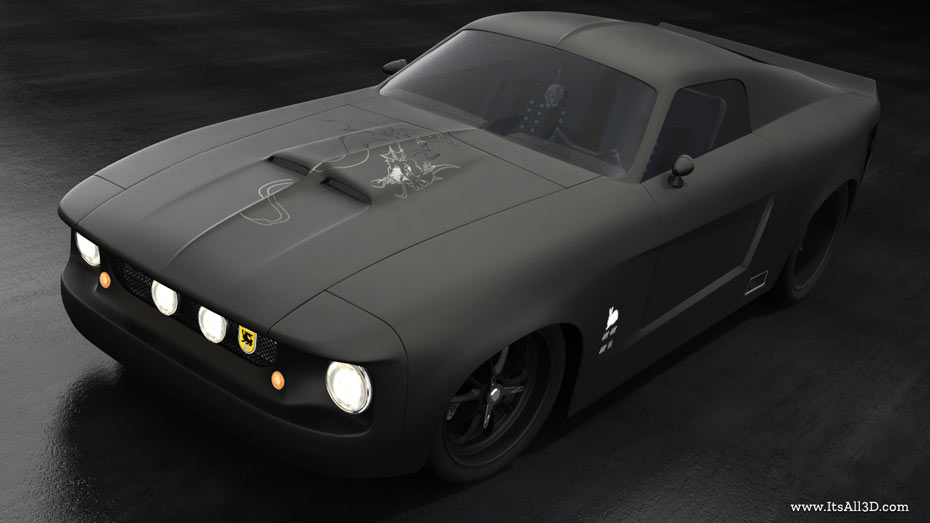 Picture showing a rendering of a custom styled Ford GT500 1968, created by STORMYSUNDAY