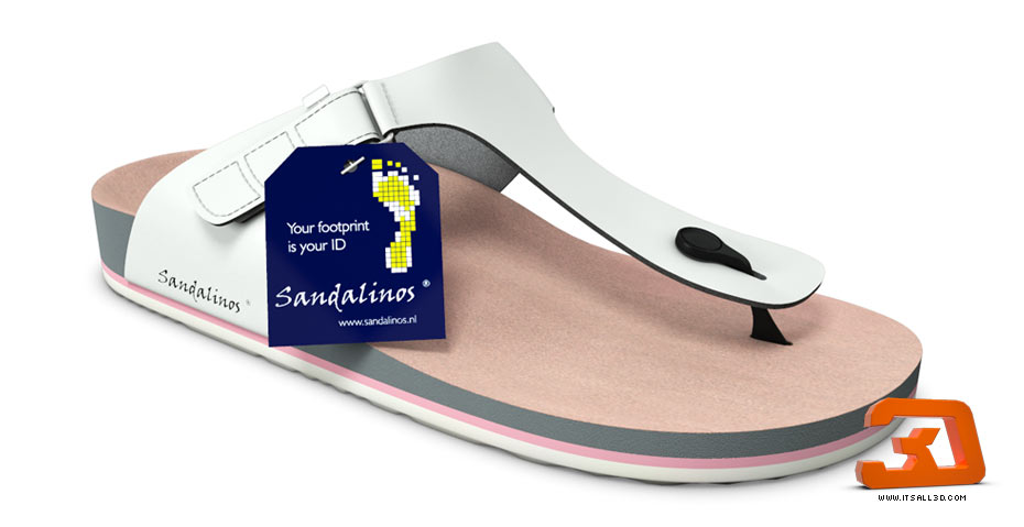 Picture showing a 3D rendering of a flip-flop, sandal, produced for SANDALINOS, created by STORMYSUNDAY